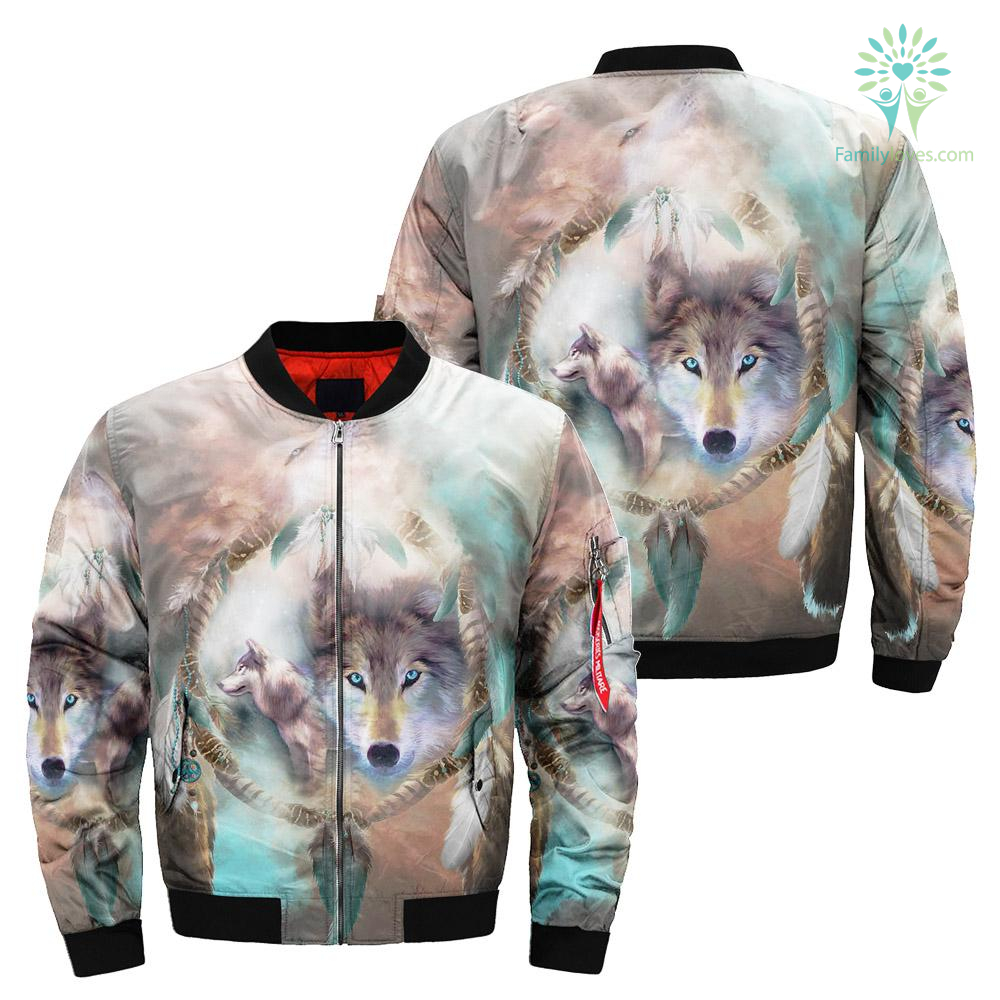 familyloves.com Wolf Dream Catcher over print bomber jacket %tag