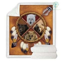 Wolf Dreamcatcher Fleece Blanket Native American Plush Throw Blanket D Animal Tribal Lion Tiger Leopard Bears Thin Quilt - bear, 130cmx150cm %tag familyloves.com