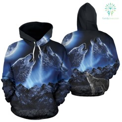 familyloves.com WOLVES HOWLING MOON All Over Hoodie %tag