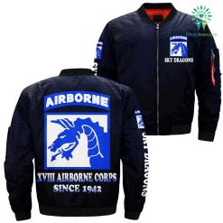familyloves.com XVIII airborne corps since 1942 over Print jacket %tag