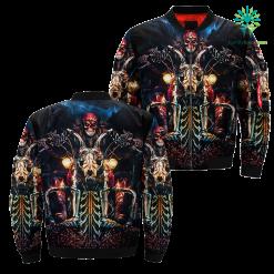 Skeleton Skull Rider Rock Over Print Jacket %tag familyloves.com