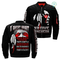 familyloves.com O' Great Spirit Over Print Jacket %tag