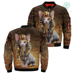 3D Printed Pharaoh Cat Over Print Jacket payment shipping %tag familyloves.com