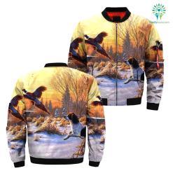Hunting dog pheasant over print jacket %tag familyloves.com