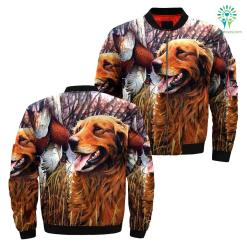 familyloves.com Dog golden hunting over print jacket %tag