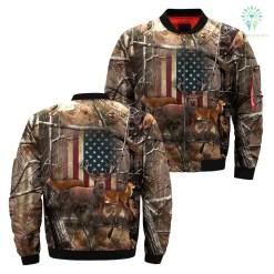Deer American flag realtree camo Over Print Jacket %tag familyloves.com