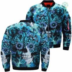 Sunflower Skull Over Print Jacket %tag familyloves.com