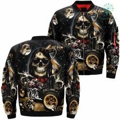 familyloves.com Skull Native And Motorbike Over Print Jacket %tag