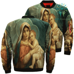 Mary And Baby Jesus Over Print Jacket %tag familyloves.com