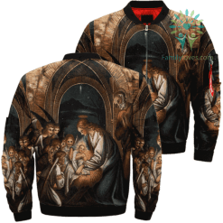 The Birth Of Jesus Over Print Jacket %tag familyloves.com