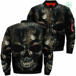 Funny Skulls Over Print Jacket %tag familyloves.com