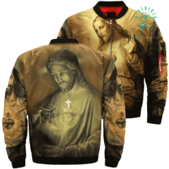 The Sacred Heart Of Jesus Over Print Jacket %tag familyloves.com