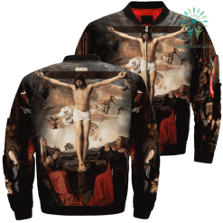 Jesus Christ And The Virgin Mary Over Print Jacket %tag familyloves.com