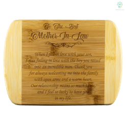 familyloves.com To The Best Mother In Law bamboo cutting board Organically Grown Bamboo (Son) %tag