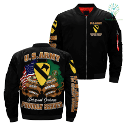 US Army 1st Cavalry Division Flight Over Print Jacket %tag familyloves.com
