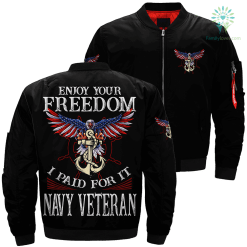 Enjoy your freedom i paid for it navy veteran Over Print Jacket %tag familyloves.com