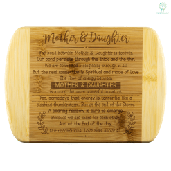 Mother & Daughter The Bond Between Mother & Daughter bamboo cutting board Organically Grown Bamboo %tag familyloves.com