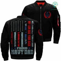 My Son Has Your Back Proud Navy Dad Over Print Jacket %tag familyloves.com