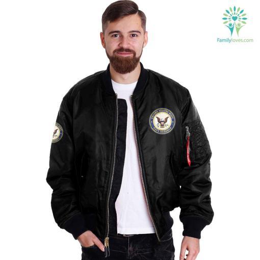 Navy Manpower Over Print Jacket %tag familyloves.com