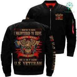 I wanted to serve i volunteered veteran over print Bomber jacket payment shipping %tag familyloves.com