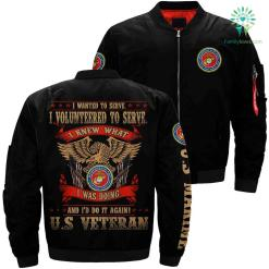 I wanted to serve i volunteered marine veteran over print Bomber jacket %tag familyloves.com