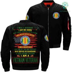 I was a warrior i am no hero but i have served... Vietnam Veteran over print Bomber jacket payment shipping %tag familyloves.com