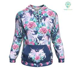 Unicorn Roses ugly christmas hoodie %tag familyloves.com