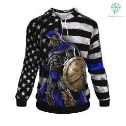 Blue Line Warrior ugly christmas hoodie %tag familyloves.com