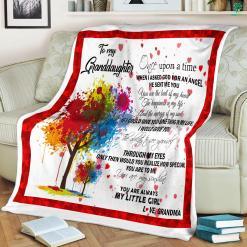 To My Granddaughter Fleece Blanket %tag familyloves.com