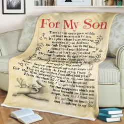 Love For My Son Quotes Sherpa Fleece Blanket %tag familyloves.com