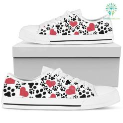 Women`s Low Top Shoes Dog Print White %tag familyloves.com