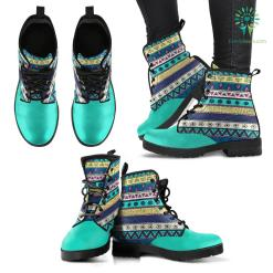Handcrafted Turquoise Blue Tribal Boots %tag familyloves.com