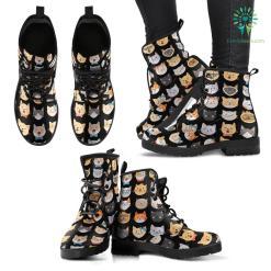 Adorable Cats Black Boots (Women's) %tag familyloves.com