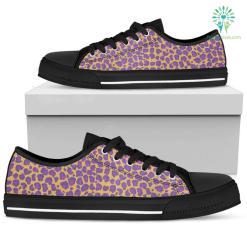 Women`s Low Top Shoes Leopard Spots Black %tag familyloves.com