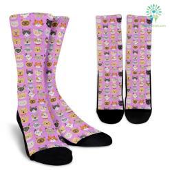 Cat Faces Socks (Pink) %tag familyloves.com