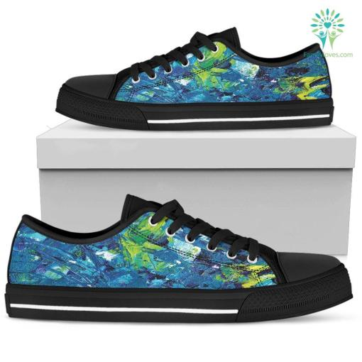 Abstract Oil Paintings P3 - Women's Low Top Shoes (Black) %tag familyloves.com