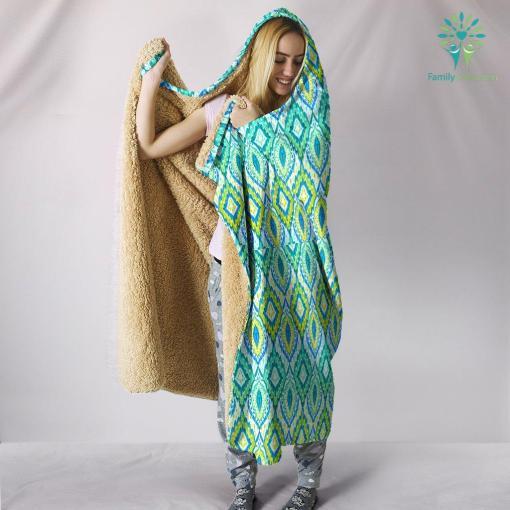 Boho Green Blue Pattern Hooded Blanket %tag familyloves.com