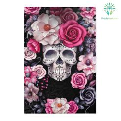 Skull rose garden Area Rugs area area rug edges hemmed hemmed edges inches rug sizes %tag familyloves.com