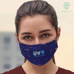 Autism Girls Peace - Love - Autism Shirt Autism Awareness Gift T-Shirt Autism Nonverbal Facemask 3D %tag familyloves.com