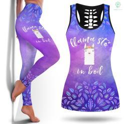 Yoga Leggings Grey Yoga Llamaste In Bed Cute Yoga Llama Yoga Legging Pink Legging And Tanktop %tag familyloves.com
