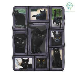 3D Huge Black Cat Sherpa Fleece Blanket %tag familyloves.com