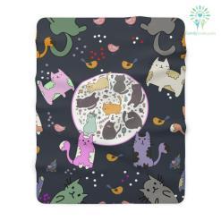 Kitten Cat Pattern Print Sherpa Fleece Blanket %tag familyloves.com