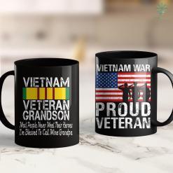 Car Donation Veterans Print On Back Vintage Proud Vietnam Veteran Grandson 11Oz 15Oz Black Coffee Mug %tag familyloves.com