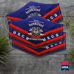 Coast Guard Exchange Boston Never Underestimate U.S Coast Guard Veteran Face Mask Gift %tag familyloves.com
