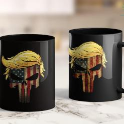 Trump 2020 Twitter Trump Hair Skull 2020 American Flag Vintage 4 Th July Gift 11oz Coffee Mug %tag familyloves.com