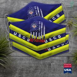 Uscg Logo Us Coast Guard Veteran Uscg American Flag Gift Face Mask Gift %tag familyloves.com