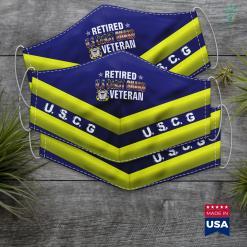 Uscg Portal Vintege Retired Us Coast Guard Veteran American Flag Gift Face Mask Gift %tag familyloves.com