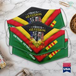 Veterans Administration Donations Proud Vietnam Veteran Grandson Gifts Raised By My Hero Face Mask Gift %tag familyloves.com