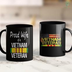 Vietnam Memorial Dc Proud Wife Of A Vietnam Veteran Service Badge Us Military 11Oz 15Oz Black Coffee Mug %tag familyloves.com