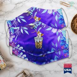 Miniature Dogs Kawaii Corgi Loves Bubble Tea Funny Bobas Welsh Dog Gift Face Mask Gift %tag familyloves.com